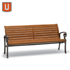 Ashley Collection 6' Outdoor Bench with Back, with Arms - Portable/Surface Mount