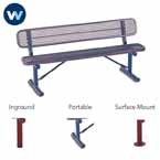"Signature Series 6' and 8'  Benches with back  - 10"" Wide Seats"