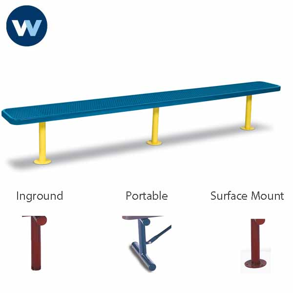 "Signature Series 10 foot and 15 foot Player Benches without back - 15"" Wide Seats"