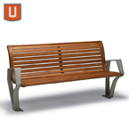 Woodridge Collection 6 foot Bench with Back, with Arms - Surface Mount