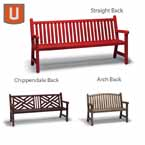 Yorktown Collection 4 foot and 6' foot Bench with Back, with Arms - Portable/Surface Mount