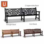 Yorktown Collection 8 foot Bench with Back, with Arms - Portable/Surface Mount
