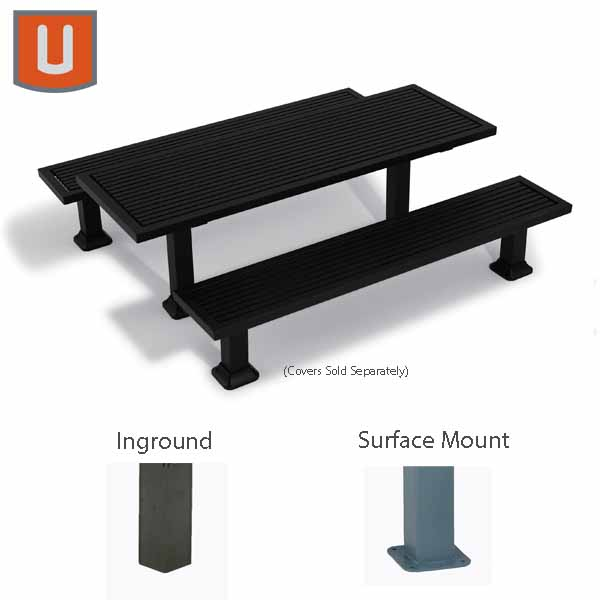 Kentland Collection 7 foot Rectangular Table w/ Benches - Surface Mount or Inground