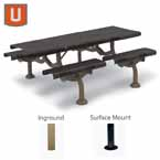 Camden Collection 7'  Rectangular Patio Table - Portable/Surface Mount or Inground