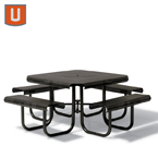 Portage Collection 46 inch Square Table with 4 Seats - Portable/Surface Mount