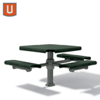 Portage Collection 46 inch Accessible (ADA) Square Table - with 3 Seats - Inground
