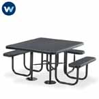 "Signature Series 46"" x 55"" Square - ADA Accessible  3- Seat Table - Portable"