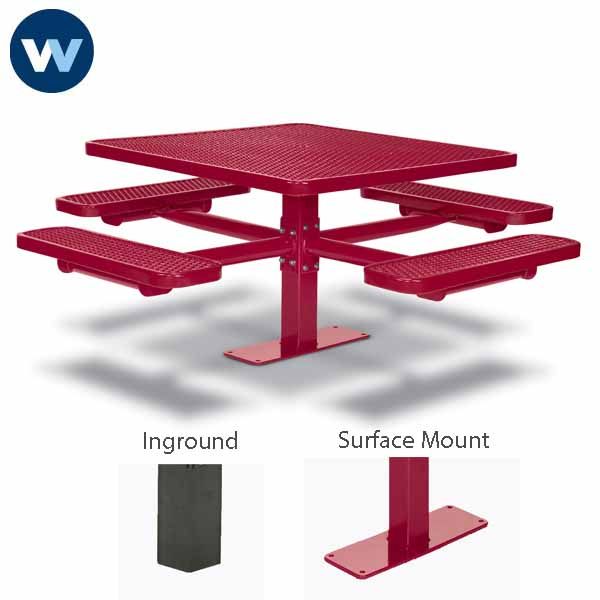 Signature Series 46 inch & 40 inch Square Pedestal Tables with 4 Seats - Basic Frame - Inground or Surface Mount