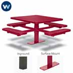 "Signature Series 46"" & 40"" Square Pedestal Tables with 4 Seats - Basic Frame - Inground or Surface Mount"
