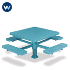 "Signature Series 46"" & 40"" Square Pedestal Table with 4 Seats - Superior Frame - Inground"