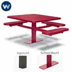 Signature Series 46 inch Square Pedestal ADA Accessible Table with 3 Seats - Basic Frame - Inground or Surface Mount