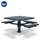 "Signature Series 46"" Square Pedestal ADA Accessible Table with - 3 Seats - Superior Frame - Inground"