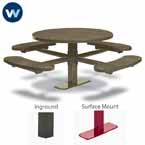 "Signature Series 46"" Round Pedestal Tables with 4 Seats - Basic Frame - Inground or Surface Mount"