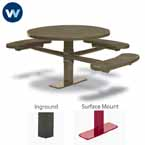 "Signature Series 46"" Round ADA Accessible Pedestal Table with 3 Seats - Basic Frame - Inground or Surface Mount"