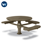 "Signature Series 46"" Round ADA Accessible Pedestal Inground Table with 3 Seats - Superior Frame - Inground"