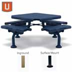 "Camden Collection 46"" Square Table - 4 Seats - Portable/Surface Mount or Inground"