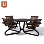 "Camden Collection 42"" Round Table Solid Top with Attached Seats -Portable/Surface Mount"