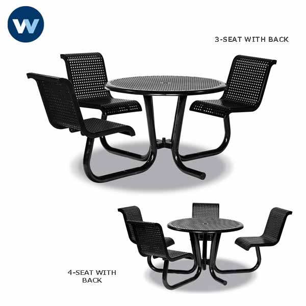 Camino Series - 42 inch  ADA Accessible Tables with Attached Chairs - Surface Mount