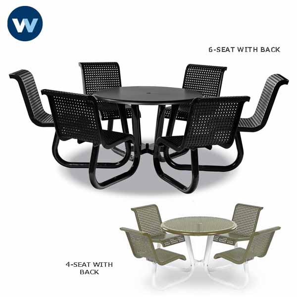 Camino Series - Patio Table with  Attached Chairs - Portable