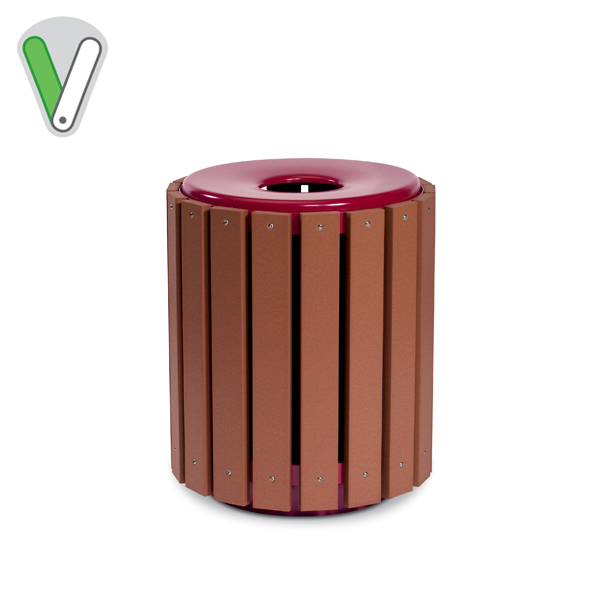 Green Valley - 32 Gallon Recycle Slat Receptacle w/ liner